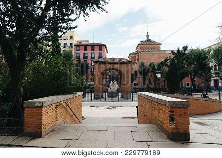 Madrid, Spain - November 3, 2017: Dos De Mayo Square Street Scene In Malasana A District In Madrid.
