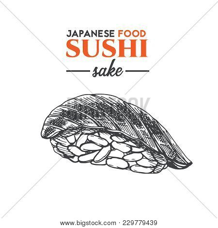 Sake Sushi Sketch. Japanese Traditional Food Icon With Salmon Fish Fillets. Isolated Hand Drawn Vect