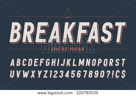 Condensed Retro Display Font Design, Alphabet, Character Set, Typeface, Typography, Letters And Numb