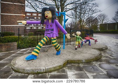 London, England - July 12, 2016 . Community Art Structure In Hoxton, East London. Features Model Of