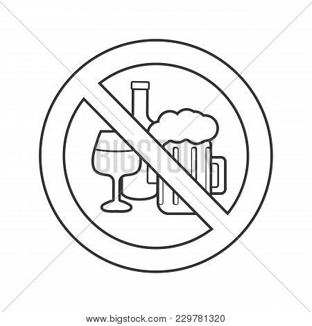 Forbidden Sign With Alcohol Drinks Linear Icon. Thin Line Illustration. Wine Bottle And Beer Glass I