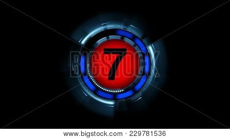 Countdown leader graphic number 7 3d