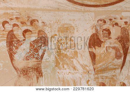 Sagarejo Municipality, Kakheti Region, Georgia. Ancient Surviving Frescoes In Walls Of Caves Of Davi