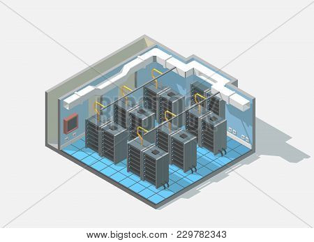 Vector Isometric Low Poly Bit Coin Cryptocurrency Mining Block Chain Data Center Cutaway Icon. Compu