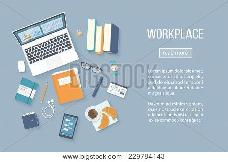 Workplace Desktop Background. Top View Of Table, Laptop, Books, Folder With Documents, Notepad, Badg