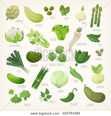 Variety Of Green And White Common Farm And Exotic Fruit And Vegetables. List Of Plants From Grocery