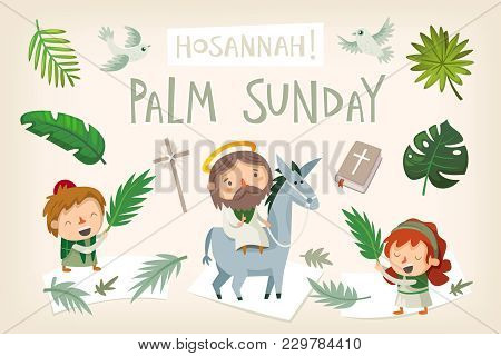 Jesus Riding A Donkey Entering Jerusalem. People Greeting Him With Palm Branches And Shouting Hosann