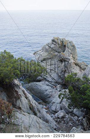 Rocks On The Coast Of Lloret De Mar In A Beautiful Summer Day, Costa Brava, Catalonia, Spain. Waterf