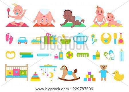 Playful Children And Toys Set, Poster With Cradle And Pillows, Duck And Teddy Bear Horse, Bowl And S