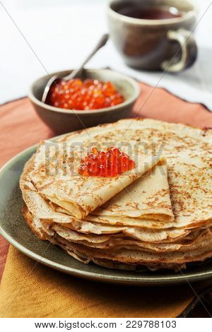 Sourdough Pancakes With Red Salmon Caviar