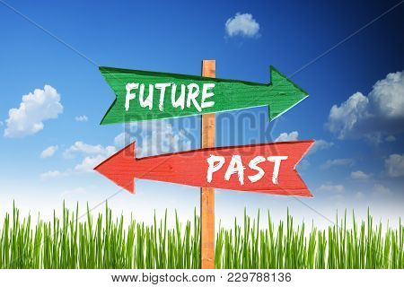 Future Versus Past Two Different Way With Signpost Arrows