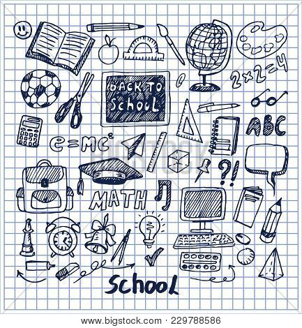 Set Of School Stuff Hand Drawn Vector Illustration With Globus Bell Computer Calculator Pen Pencil B