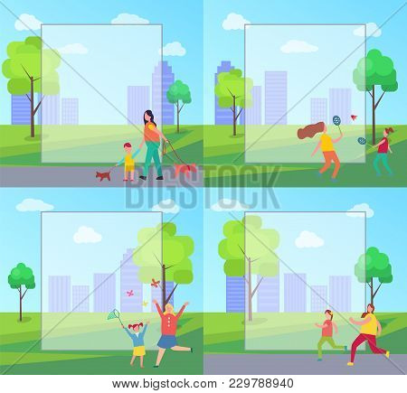 People Spending Leisure Time In City Park, Frame For Text. Moms And Kids Playing Badminton, Catching