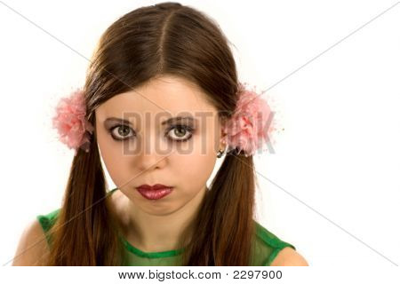 Pretty Young Woman With Bows