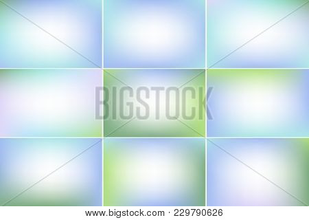 Spring Peaceful Banners. Blue And Green Colors. Blurred Abstract Vector Backgrounds With Copy Space.