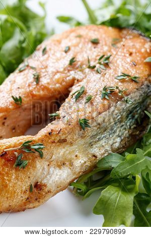 Roasted Atlantic Salmon With Thyme And Aragula.