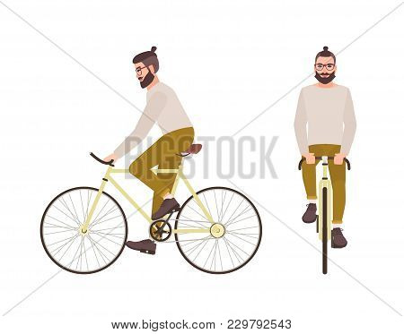 Young Hipster Man Or Male Cartoon Character With Trendy Hairstyle And Beard Riding Bicycle. Stylish