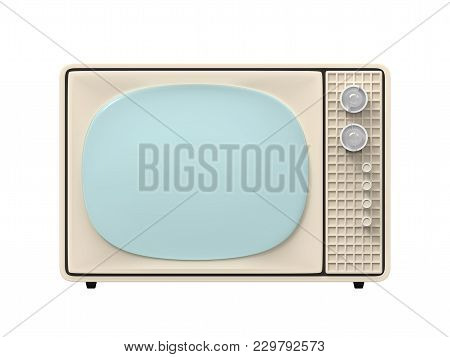 Vintage Television - Old Tv Isolate On White, Front Iew. 3d Illustration