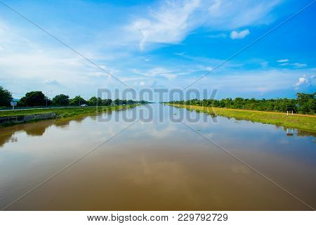 Landscape Of Waterway Canal In Thailand - Country