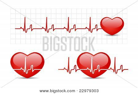 Heart cardiogram with heart