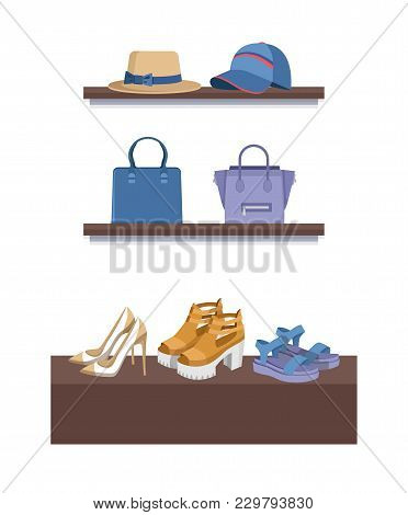 Summer Mode Shelves With Objects, Poster With Hats And Bags, Shoes And Women Items, Collection Of Pr