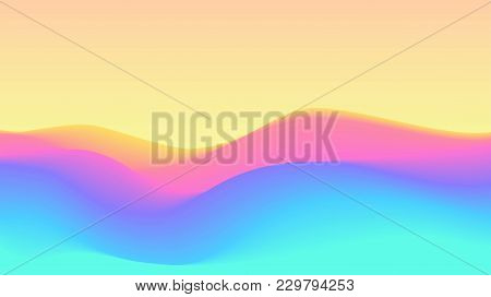 Color Rainbow Wavy Terrain Background. Dynamic Effect. Abstract Vector Illustration. Design Template