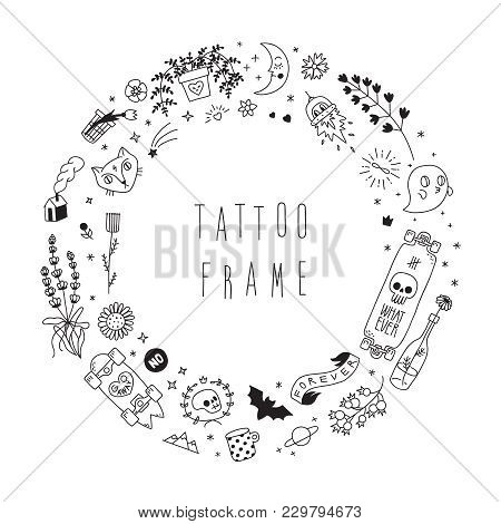 Old School Hipster Black Tattoo Vector Circle Frame Illustration. Part One.