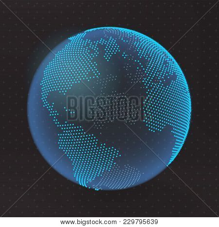 3d Abstract Planet, Dots, Representing The Global, International Meaning. Vector Earth. North Americ