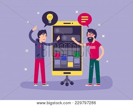 Developers Discussed Development Of Project Application For Smartphone. Vector Illustration