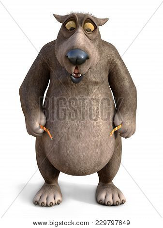3d Rendering Of A Chubby, Charming Cartoon Bear Looking Shocked When Measuring His Waist. White Back