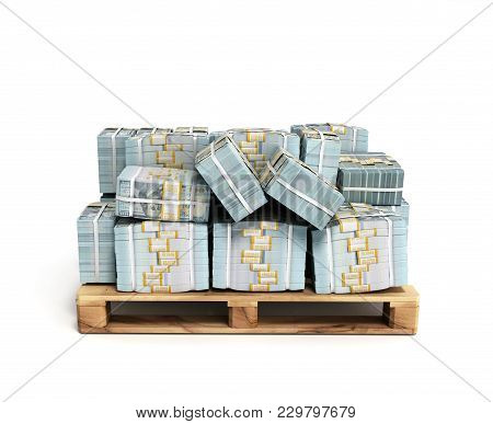 Stack Of Dollar Money Bills On Wooden Pallet 3d Render On A White Background