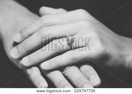 Closeup The Wedding Beautiful Diamond Ring On Women Ring Finger, B&w Filter Applied
