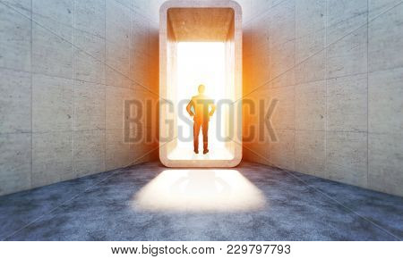 standing man and modern abstract concrete structure 3d rendering image