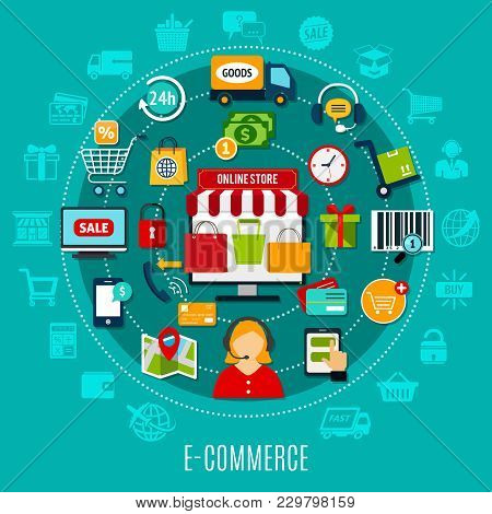E-commerce Flat Concept With Internet Shopping Elements Around Online Store Icon On Turquoise Backgr