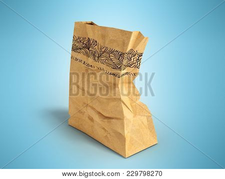 Paper One Big Packet Behind 3d Rendering On Blue Background With Shadow