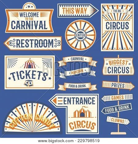 Circus Labels Carnival Show Banner Vintage Label Elements For Circus Design On The Party Theme. Coll