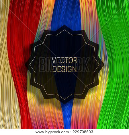 Jagged Round Frame On Saturated Colorful Background. Trendy Holographic Packaging Design Or Cover Te