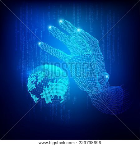 Concept Of Communication World, Graphic Of Wireframe Hand Reaching To Digital Technology Globe