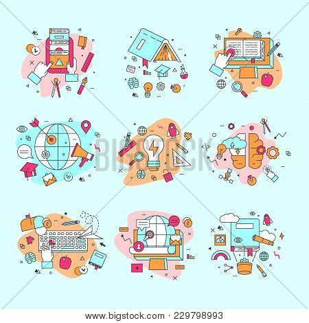 Education Icons Vector Illustration Educational And Learning Symbols Of Schooling And Graduation Set
