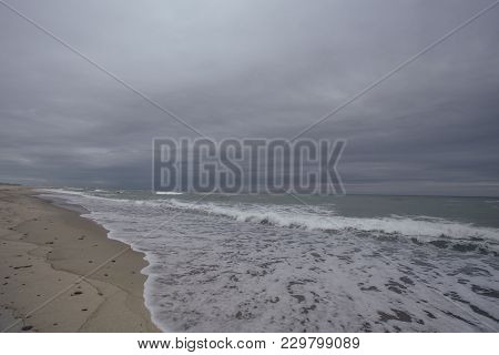 Storm On The See With  Waves On The Sand Beach In Curonian Spit