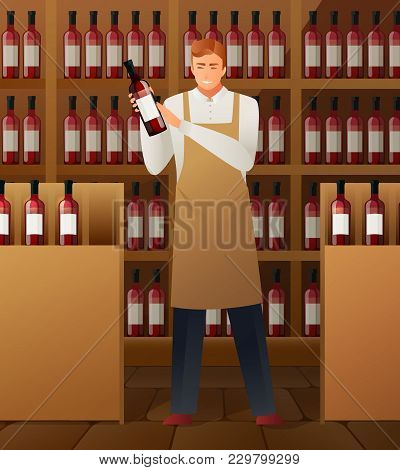 Wine Production Composition With Wine Market Symbols Gradient Flat Vector Illustration