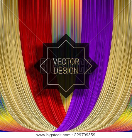 Eight-pointed Frame On Saturated Colorful Background. Trendy Holographic Packaging Design Or Cover T