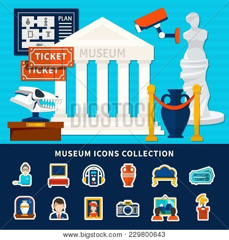 Museum Icons Collection Of Antique Exposure Caretaker Ticket Artworks  Museum Building With Title An