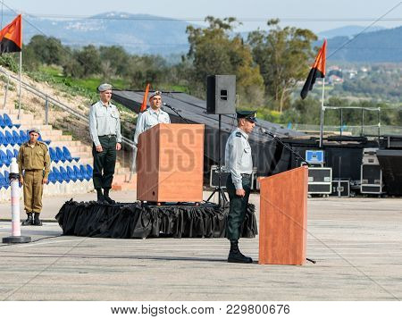 Mishmar David, Israel, February 21, 2018 : Officers Of The Idf Stand Still While Performing The Anth