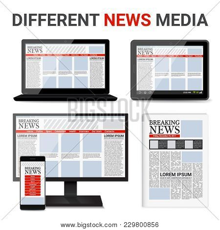 Different News Media Set With Event Information On Electronic Devices Screens And In Newspaper Isola
