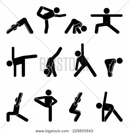 Stick Figure Basic Yoga Position Set. Vector Illustration Of Sportsman Pictogram On White