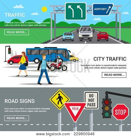 Traffic 3 Horizontal Banners Webpage Design With Country And City Roadways Signboards Symbols Flat I