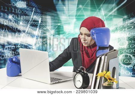 Stress Young Businesswomen With Boxing Glove Look At Her Laptop.cyber Security Business Concept With