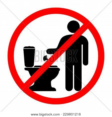 A Sign That Prohibits Throwing Paper In The Toilet. Vector Illustration.