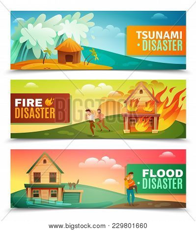 Natural Disasters Set Of Horizontal Banners With Tsunami, Burning House, Rescue During Flood Isolate